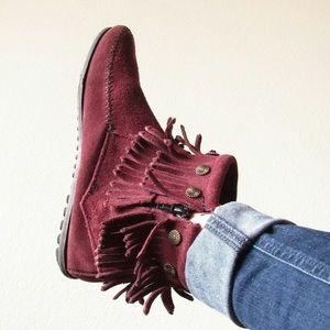 Minnetonka Double Fringe Leather Boho Booties